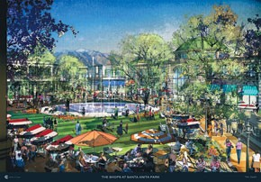 A rendering of The Shops at Santa Anita Park from Caruso Affiliated.
