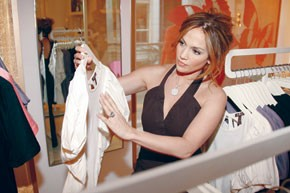 Jennifer Lopez checks out a top in a JLO by Jennifer Lopez store in Russia.