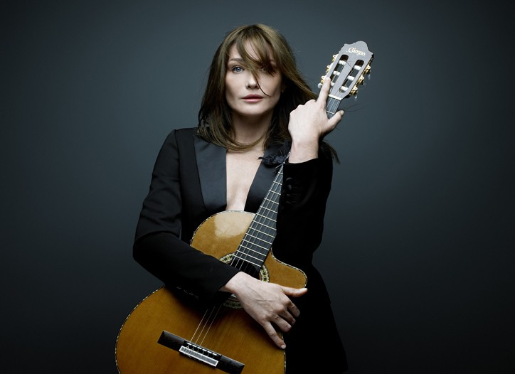 Carla Bruni-Sarkozy in dior Homme to promote her new record.