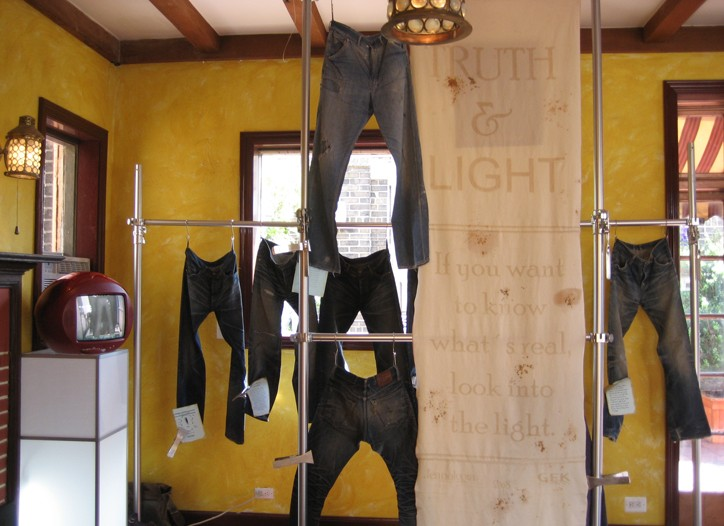 Jeanologia's display of vintage jeans and their reproductions.