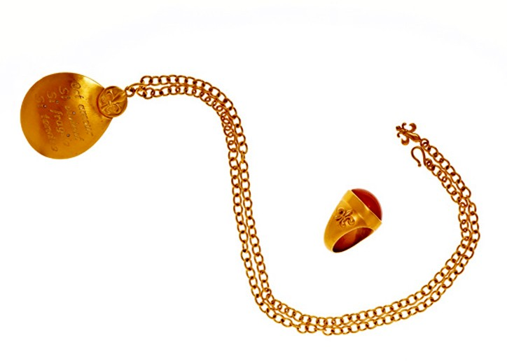 Anne Bezamat's pendant necklace and ring.