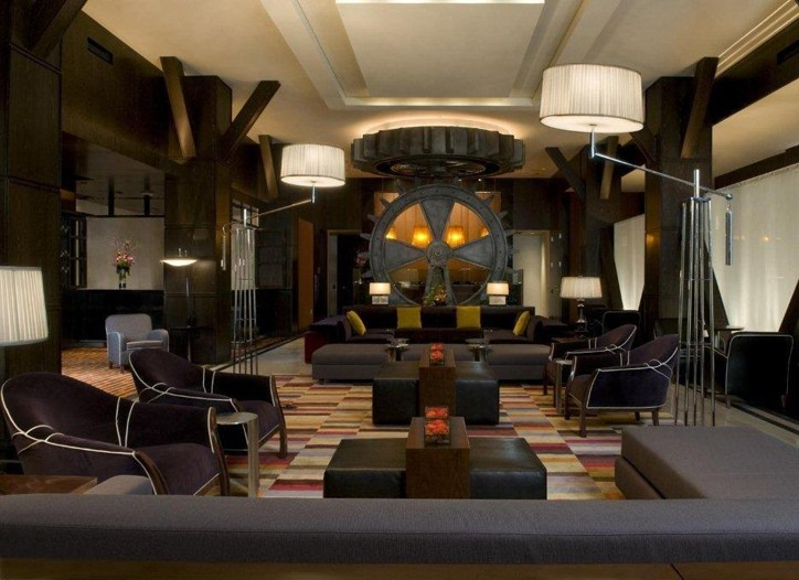 The Adam Tihany-designed lobby of the Joule Urban Resort in Dallas.