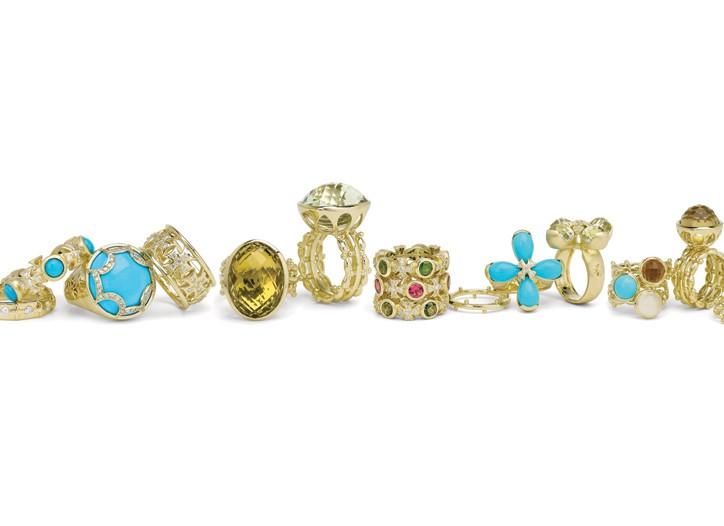 Elizabeth Showers' 18-karat gold rings.