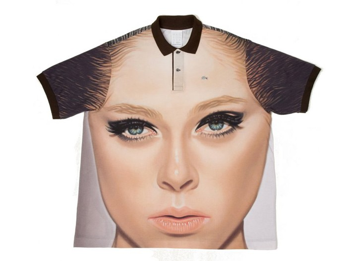 Coco Rocha on a Lacoste polo shirt.