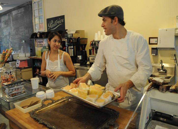 Ann Redding and Matt Danzer behind the counter at Reddings.