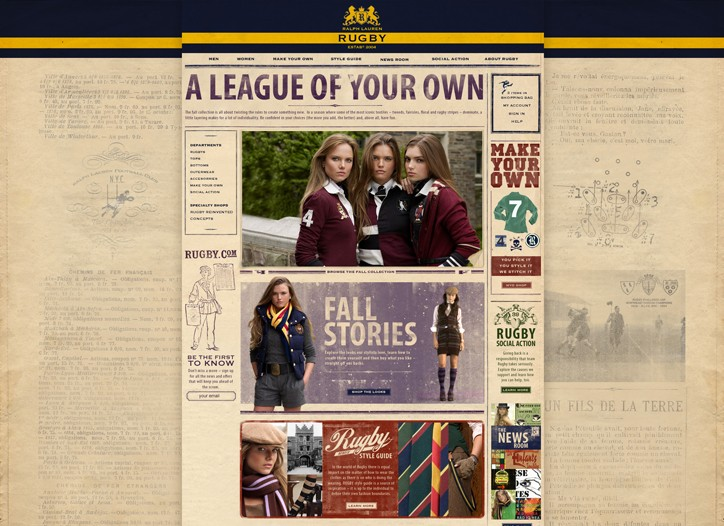 A page from Ralph Lauren?s rugby.com Web site.