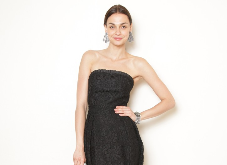 Bloomingdale's exclusive Alice + Olivia lace cocktail dress with Tory Burch's clutch and Badgley Mischka's earrings and bracelet.
