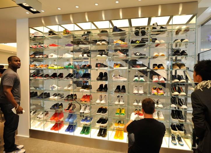 Colette's glass sneaker wall.