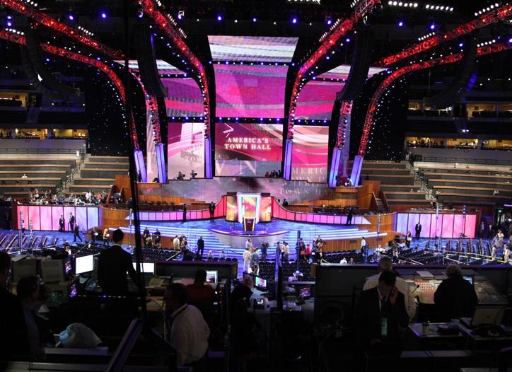 Preparations under way inside the Pepsi Center.