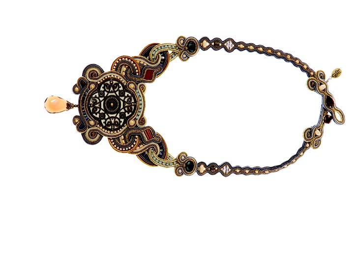 Dori Csengeri has crafted intricate necklaces of lacelike cotton cord, some inset with cabochons and crystal beads.