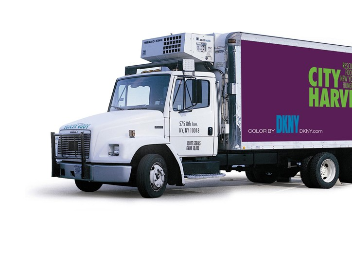 A DKNY-colored City Harvest truck.