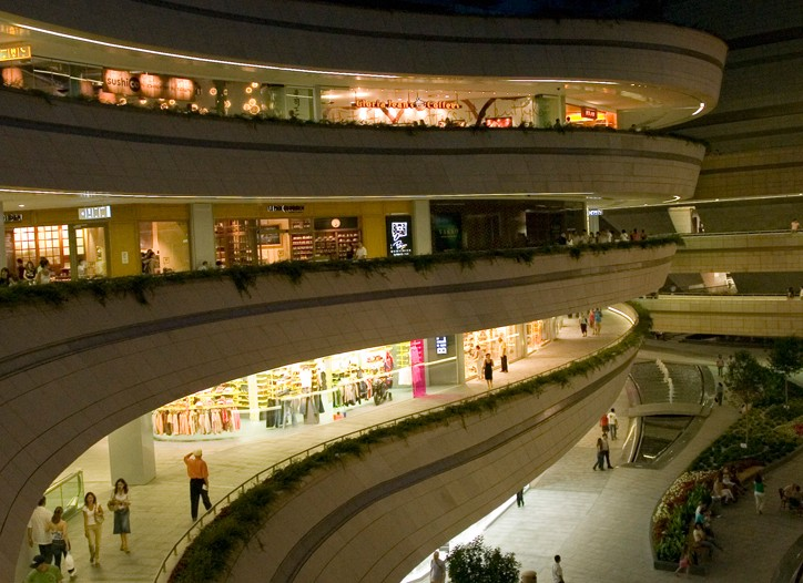 The Kanyon Shopping Center, with floors of offices, luxury residences and 400,000 square feet of retail space.