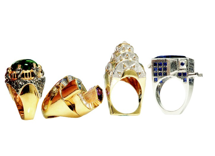 Put the whole world in your hands with Matina Amanita?s 10-piece cocktail ring collection, which re-creates in miniature global architectural wonders such as the Taj Mahal and the Chrysler Building.