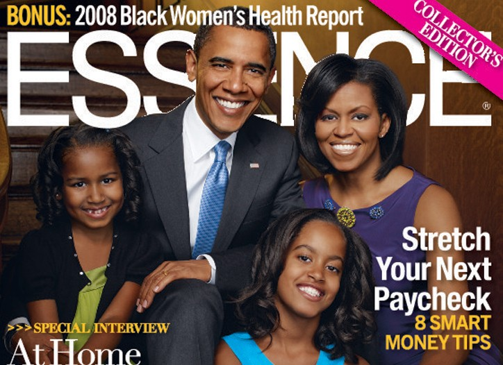 The Obamas shot at their home for Essence.