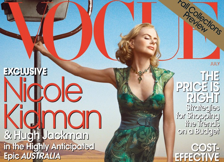 Nicole Kidman, in costume for the film ?Australia,? on the cover of July 2008 Vogue.