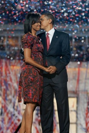 Barack and Michelle Obama at the Democratic National Convention.