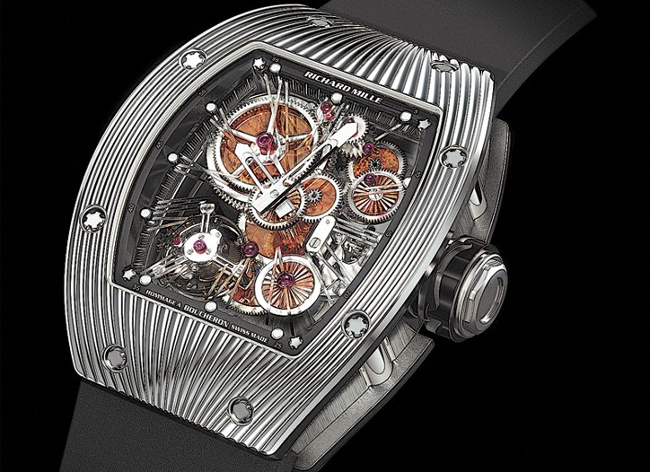 French watch wizard Richard Mille has conceived a spectacular homage to Boucheron to celebrate the Paris jeweler?s 150th anniversary. The collection is limited to a run of 30 pieces and features movements made from gemstones.