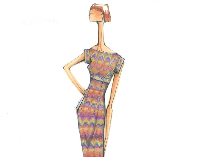 A sketch of a Nicole Miller Studio One dress for day.