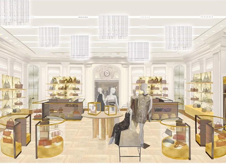 A rendering of Bergdorf Goodman's Modern Accessories Room.