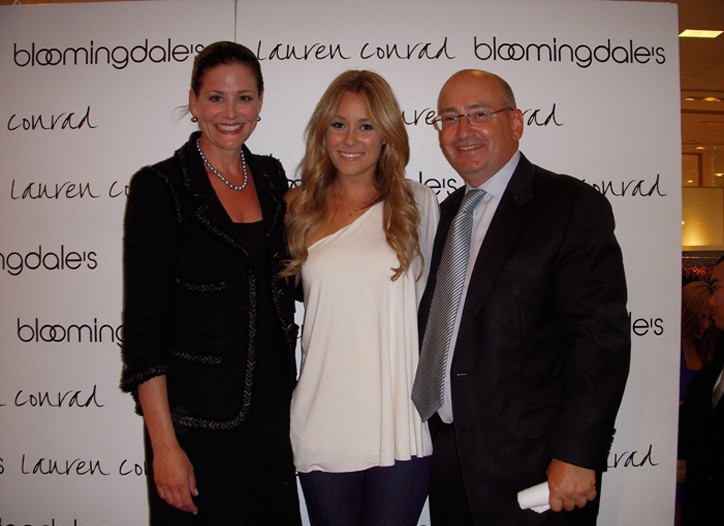Lauren Conrad flanked by Stephanie and Frank Doroff.