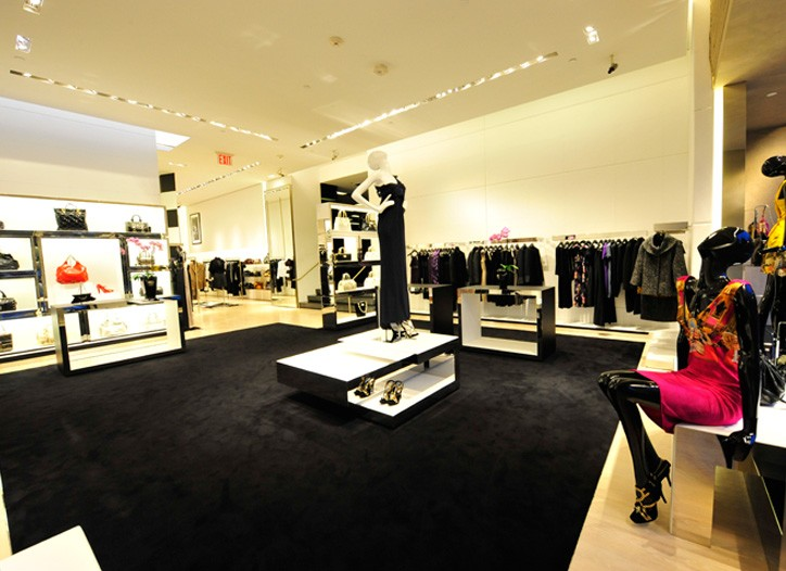 A view of Versace's in-store women's boutique at Hirshleifer's.