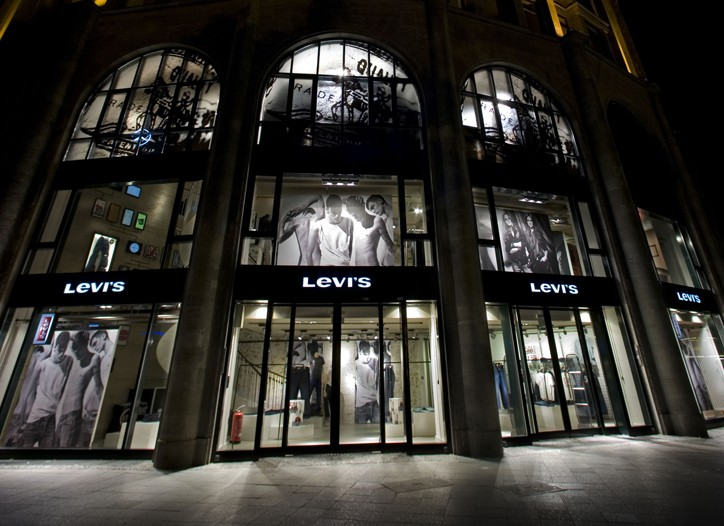 The exterior of the Levi's Berlin flagship.