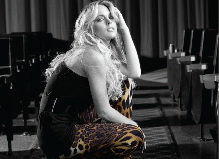 Lindsay Lohan modeling 6126's leopard-print leggings.