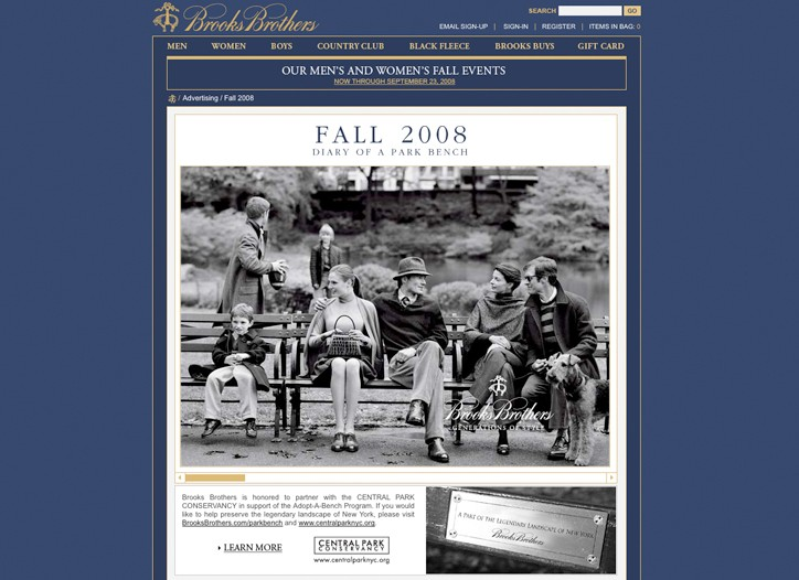 """The Brooks Brothers """"Generations of Style"""" campaign makes its appeal to a range of generations. Here, a fall 2008 """"Diary of a Park Bench"""" ad image."""