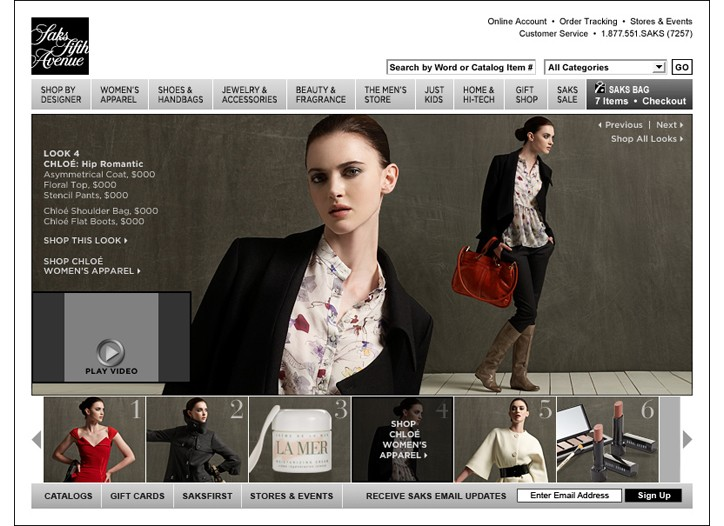 Saks' fall virtual catalog focused on designer and beauty.