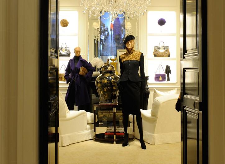Views of the Ralph Lauren boutique in Paris.