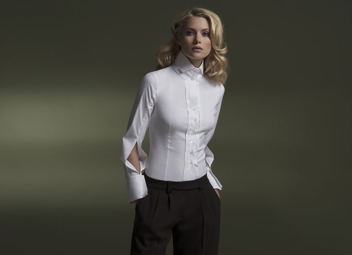 Walter Voulaz: A long-sleeved shirt in stretch cotton satin with three buttons and sleeves with anterior plackets. $370