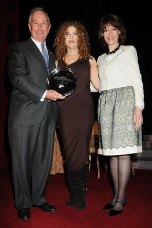 Mayor Michael Bloomberg, Bernadette Peters and Evelyn Lauder.