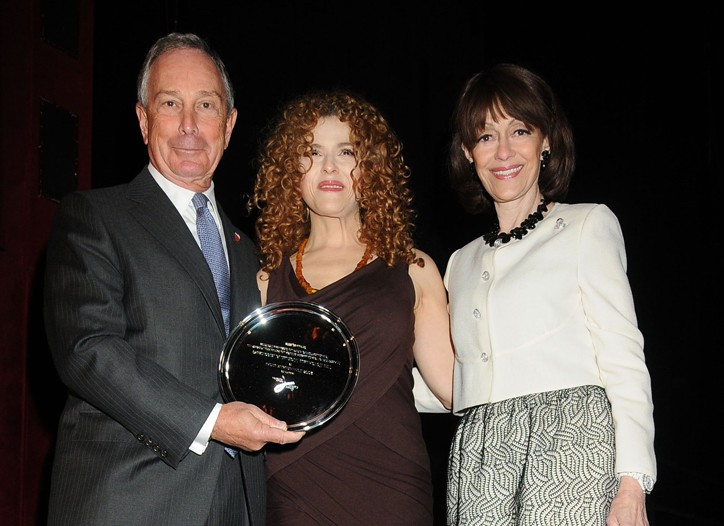 Mayor Michael Bloomberg, Bernadette Peters and Evelyn Lauder.
