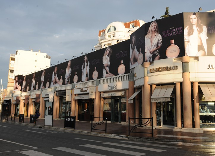 Estée Lauder billboards promoting the Sensuous fragrance.