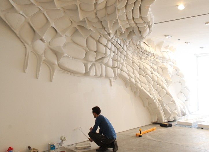 """Kartel-Pendik"" climbs the wall and ceiling at Sonnabend Gallery."