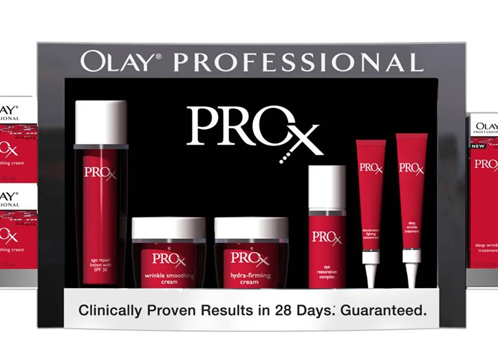 An on-shelf merchandising display for Olay Professional Pro-X.