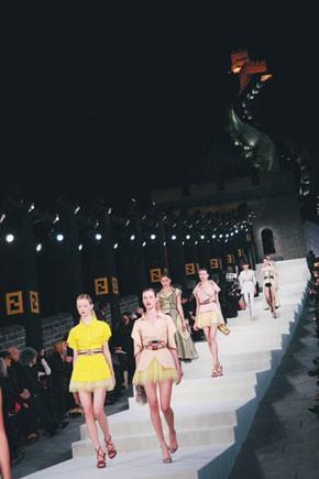 Models make their grand entrance.