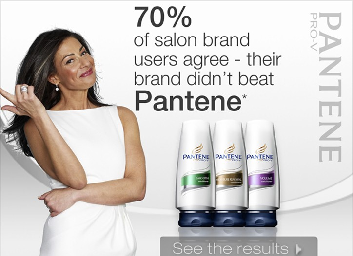 """An ad supporting Pantene's latest marketing campaign, """"Salon Challenge."""""""