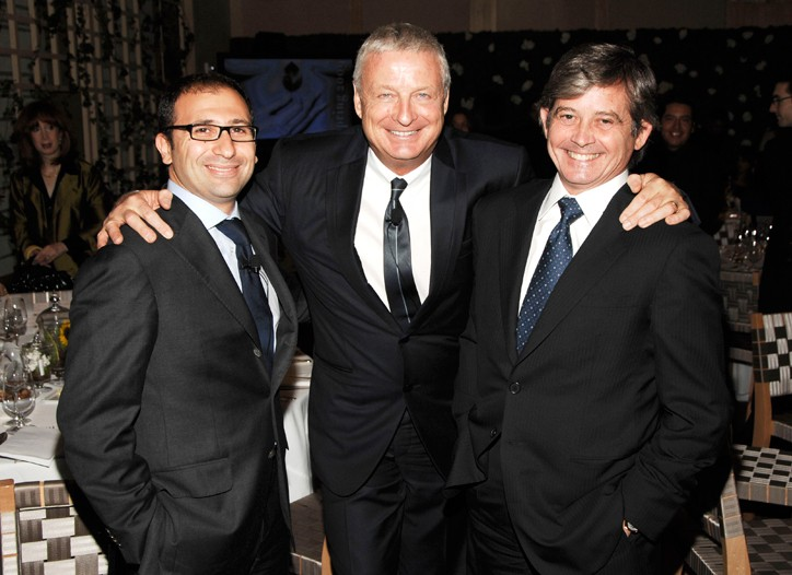 Jonathan Zrihen, president of Groupe Clarins USA; Christian Courtin-Clarins, and Philip Shearer at the product presentation in New York.