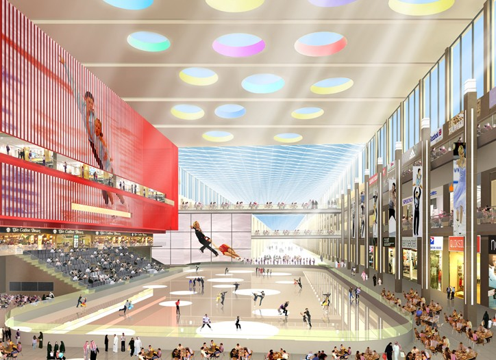A rendering of the ice rink at the Dubai Mall.