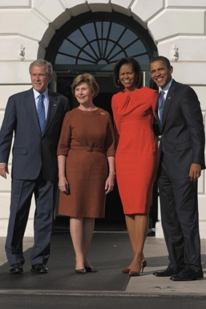 George W. Bush and First Lady Laura Bush greet president-elect Barack Obama and his wife Michelle.