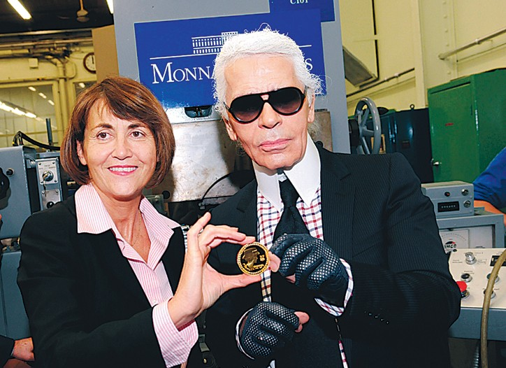 Karl Lagerfeld and the Chanel coin.