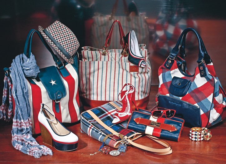 A little patriotism seems to be just the thing for spring as accessories designers across the globe show pieces in red, white and blue.