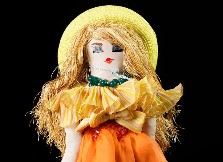 Chantal Thomass' doll, made entirely with Laduree pastry boxes, was displayed at the Mini Palais in Paris Monday night ahead of an auction benefiting UNICEF.