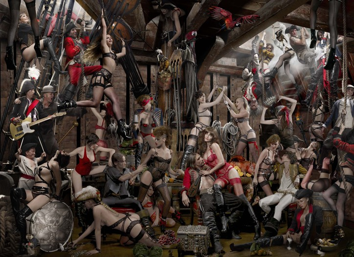 Agent Provocateur's Joe Corre and Mick Jones of The Clash (far left) oversee the Pirates' swashbuckling party.