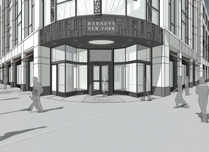 A rendering of the Barneys New York Oak Street store.