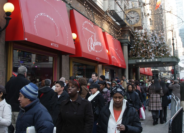Shoppers outside Macy's Herald Square.