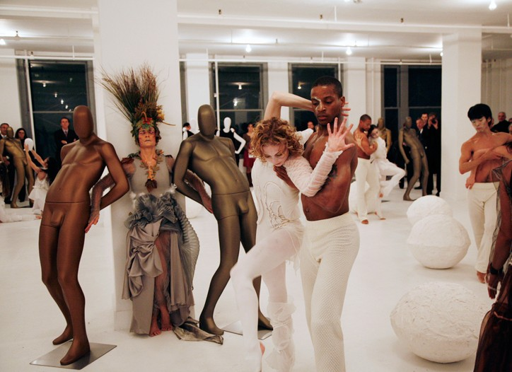 The Buglisi dance troupe performs at Ralph Rucci's showroom.