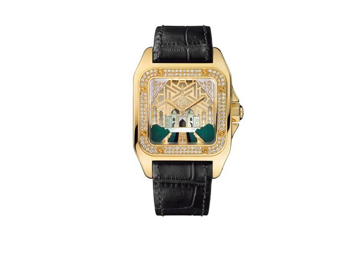 Cartier's limited edition Santos 100 Cartier Taj Mahal time piece.
