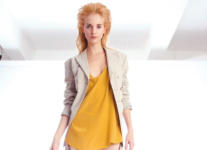 Ohne Titel's nylon tricot, cotton and Swarovski crystal leggings. Velour's blazer, Geren Ford's dress and Max Azria's shoes.